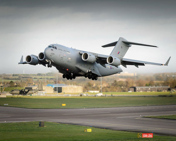 A Royal Air Force 99 Squadron C17 aircraft taking off from RAF Brize Norton providing air transport assistance to France for the Central African Republic (CAR)